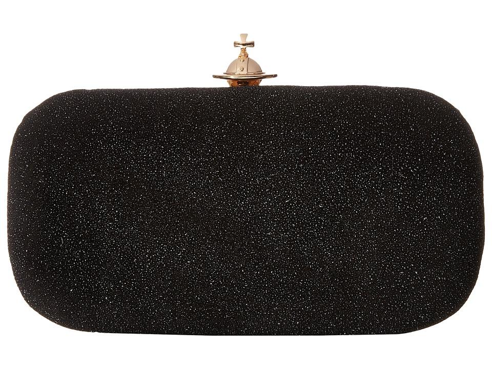 Vivienne Westwood - Angel Glitter Medium Clutch (Black) Clutch Handbags
