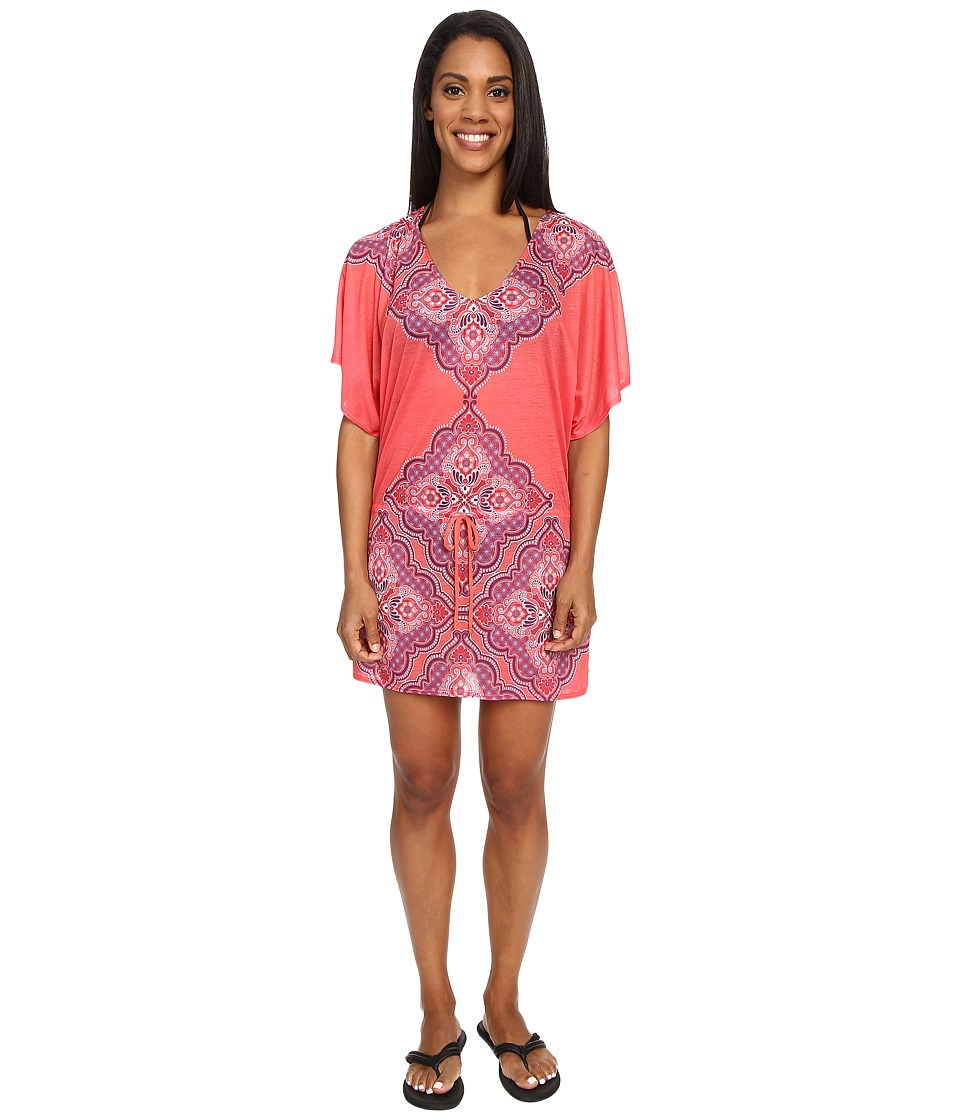Prana - Saida Kaftan (Neon Orange Jasmine) Women's Blouse