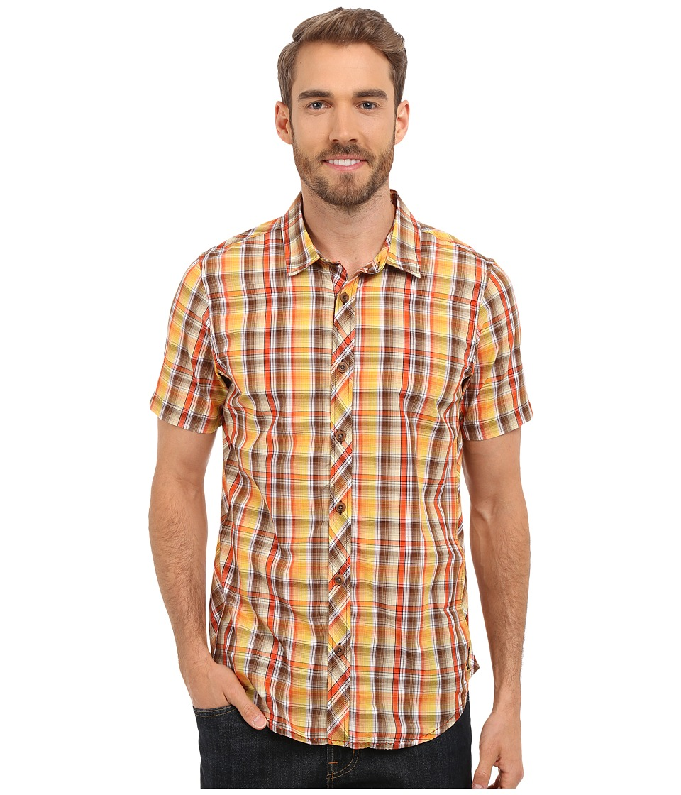 Prana - Elliot Slim (Brown) Men's Short Sleeve Button Up