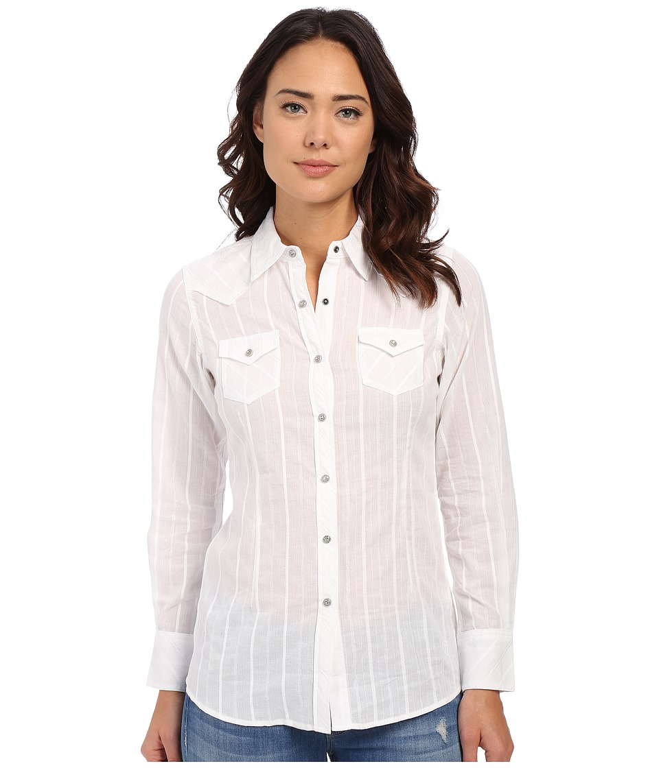Ariat - Roxbury Snap Shirt (White) Women's Long Sleeve Button Up