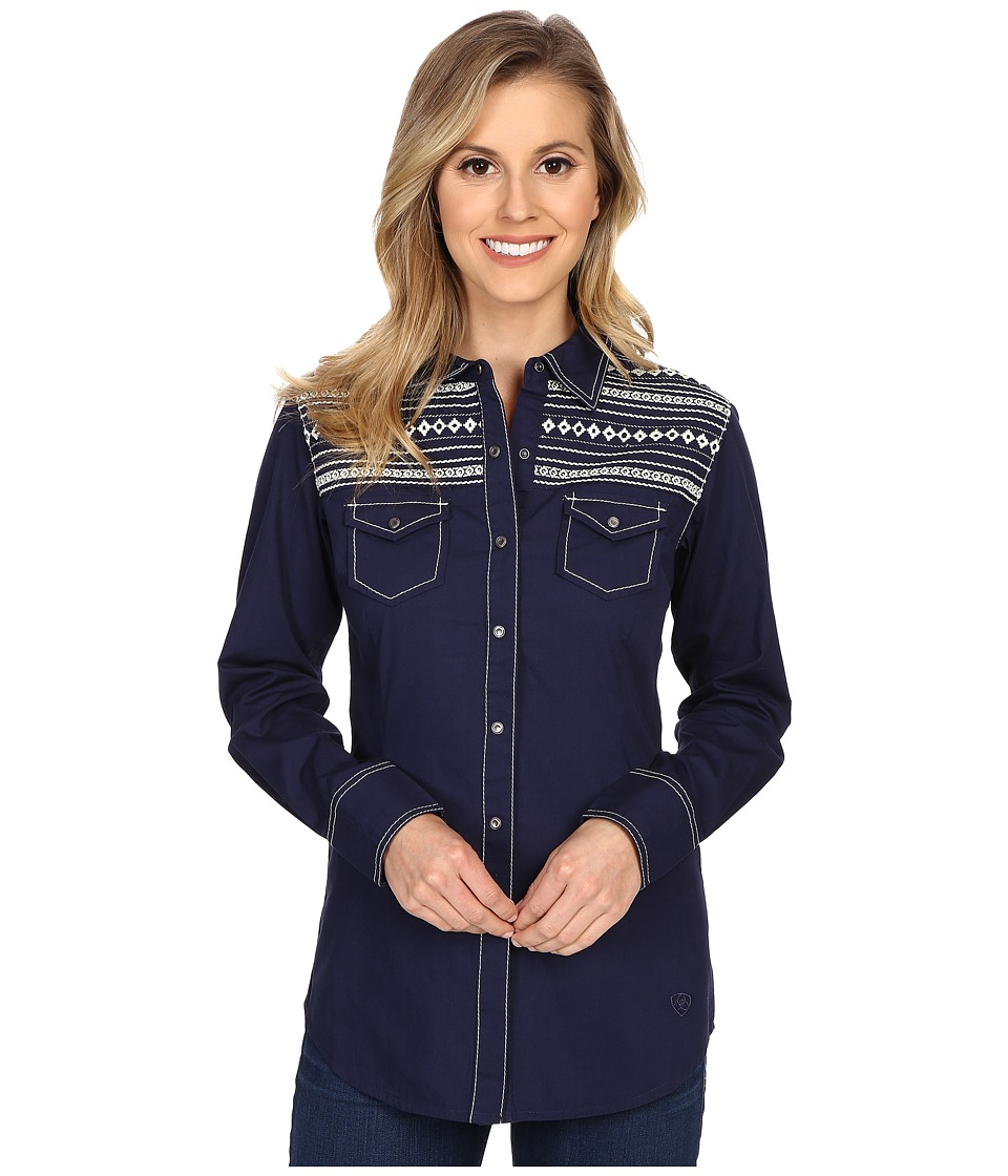 Ariat - Festival Snap Shirt (Peacoat Navy) Women's Long Sleeve Button Up