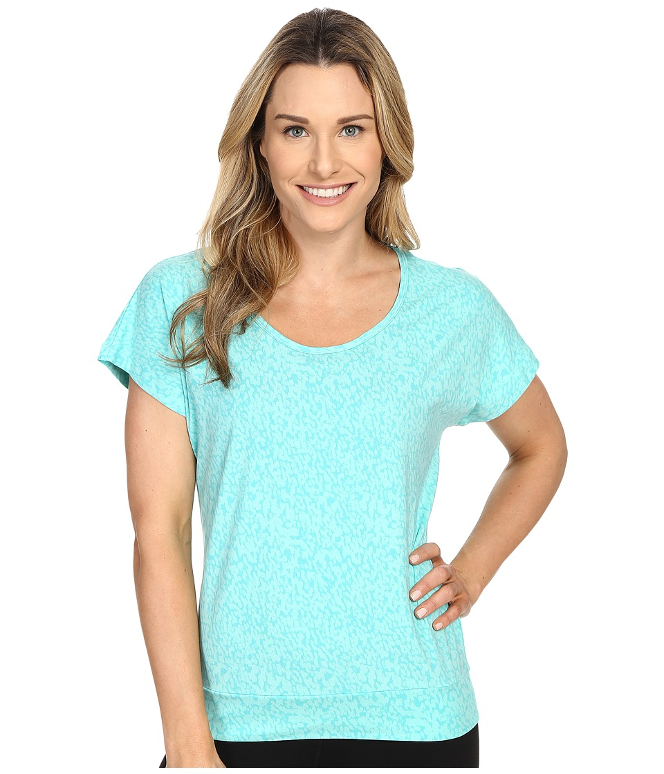 Lole - Sheila Top (Turquoise Footprint) Women's Short Sleeve Pullover