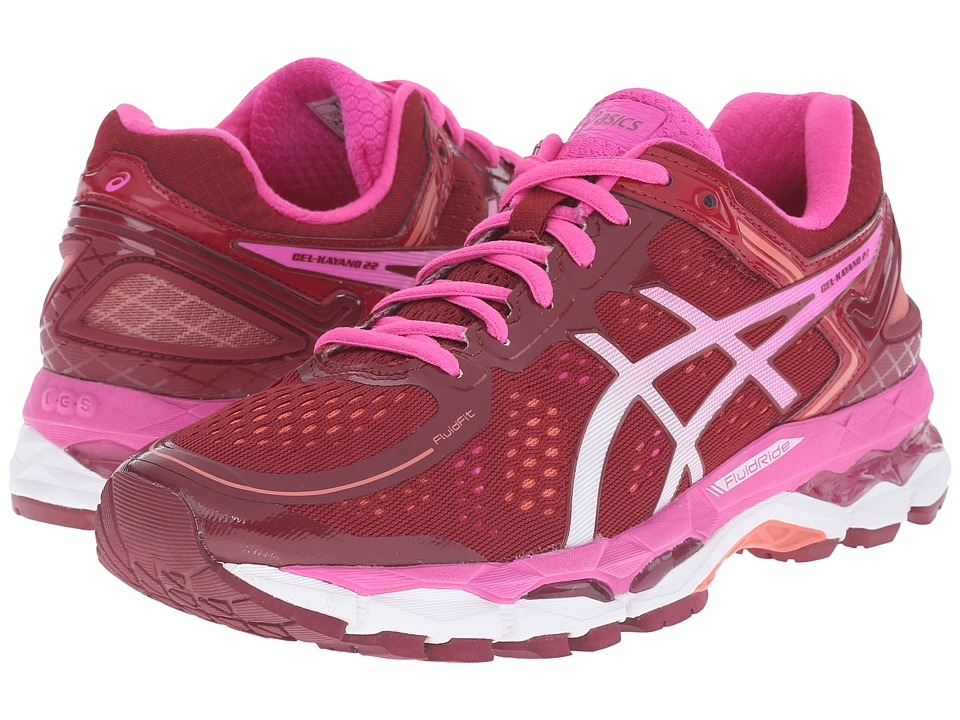 ASICS - GEL-Kayano 22 (Deep Ruby/White/Pink Glow) Women's Running Shoes