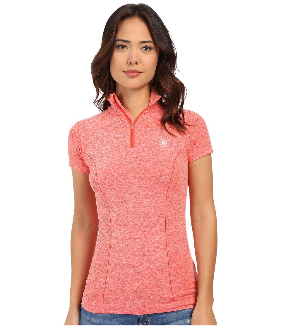 Ariat - Odyssey Seamless Short Sleeve Zip (Flame Heather) Women's Short Sleeve Pullover