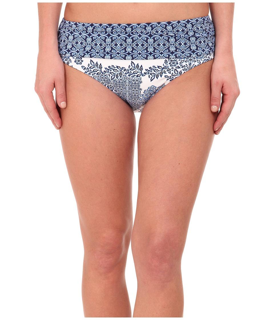 Tommy Bahama - Stamped Medallion High Waist Sash Bikini Bottom (Blue Zaffiro/White) Women's Swimwear
