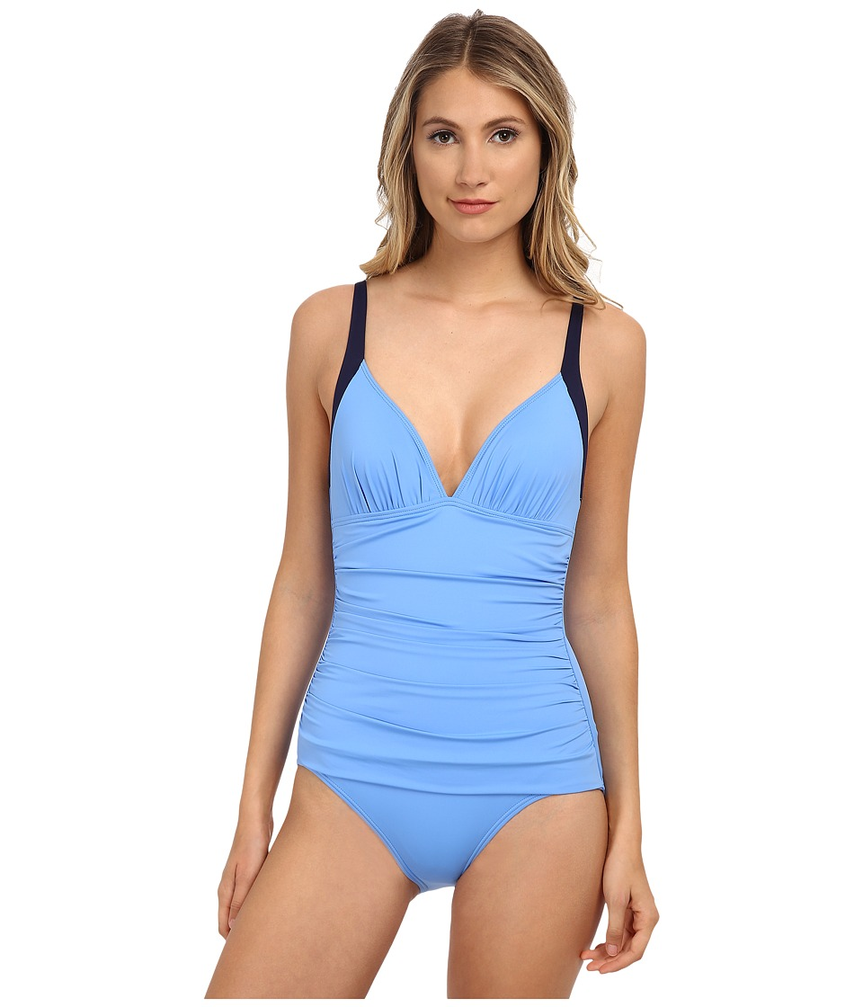 Tommy Bahama - Deck Piping Over the Shoulder V-Neck Cup One-Piece (Blue Zaffiro/Mare Navy) Women's Swimsuits One Piece