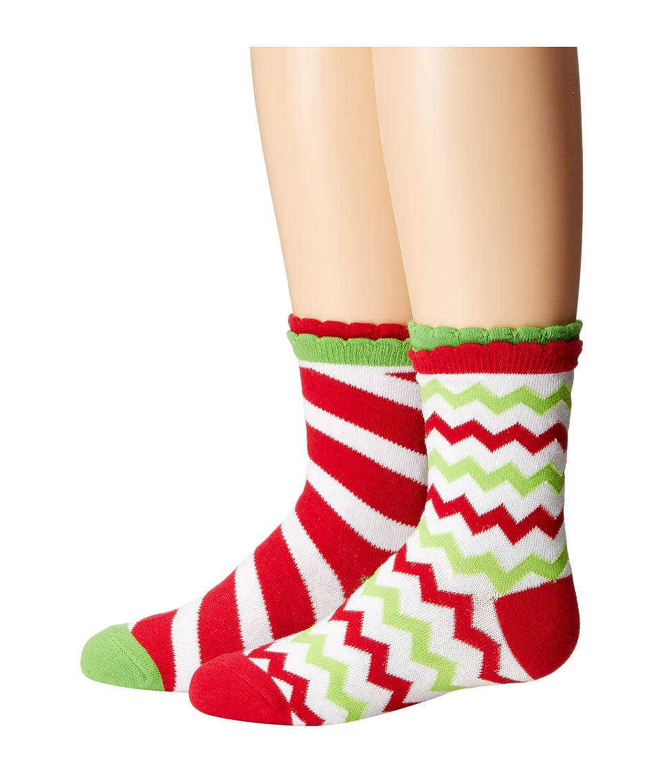 Jefferies Socks - Christmas Socks 2-Pack (Candy Cane Stripe + Chevron) (Infant/Toddler/Little Kid) (Holiday Multi) Girls Shoes