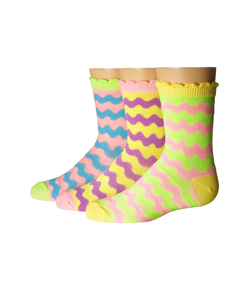 Jefferies Socks - Pastel Neon Wavy Crew 3-Pack (Infant/Toddler/Little Kid/Big Kid) (Pastel Neon) Girls Shoes
