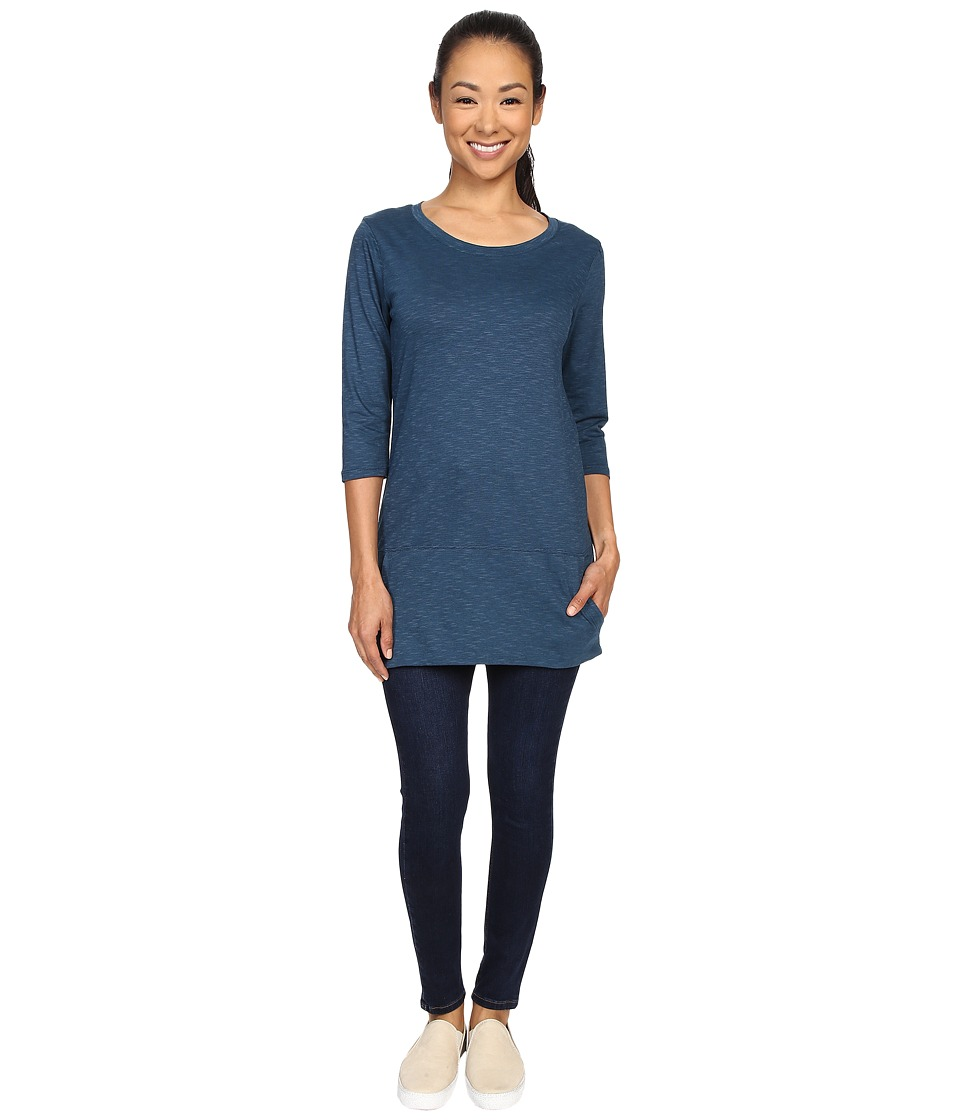 Toad&Co - Ursa Three-Quarter Sleeve Tunic (Inky Teal) Women's Short Sleeve Pullover