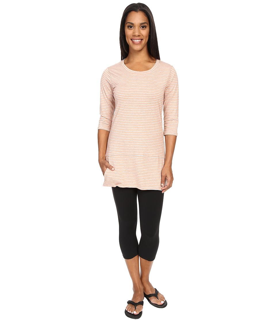 Toad&Co - Ursa Three-Quarter Sleeve Tunic (Melon Stripe) Women's Short Sleeve Pullover