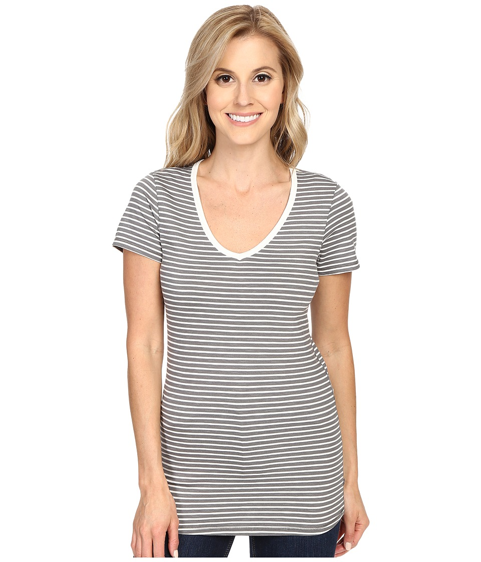 Toad&Co - Marley S/S Tee (Smoke Stripe) Women's Short Sleeve Pullover