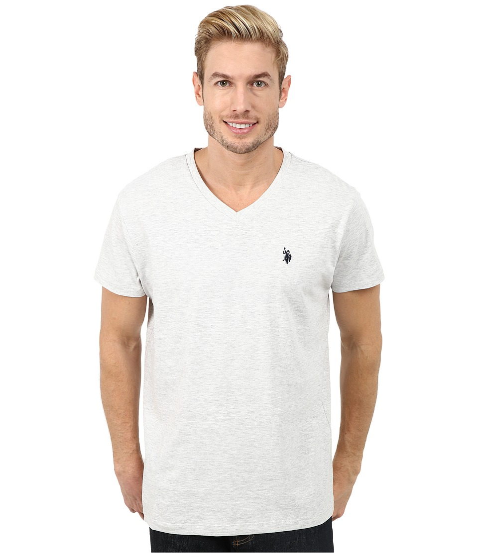 U.S. POLO ASSN. - V-Neck Short Sleeve T-Shirt (Light Heather Gray) Men's Short Sleeve Pullover
