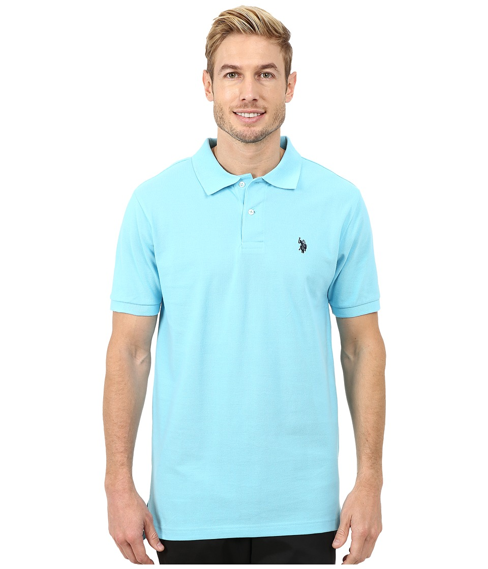 U.S. POLO ASSN. - Solid Cotton Pique Polo with Small Pony (Horizon Blue) Men's Short Sleeve Knit
