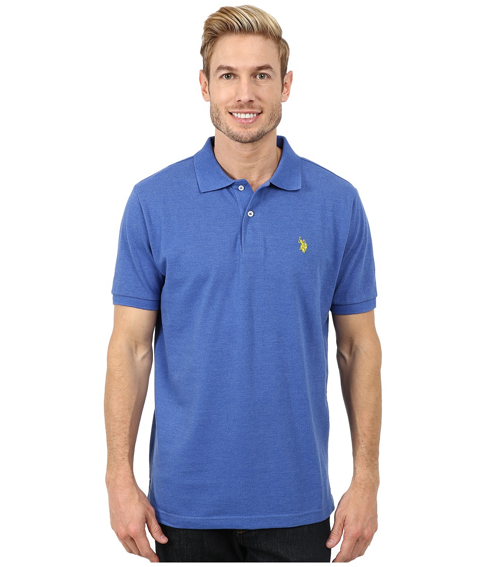 U.S. POLO ASSN. - Solid Cotton Pique Polo with Small Pony (Cobalt Heather) Men's Short Sleeve Knit