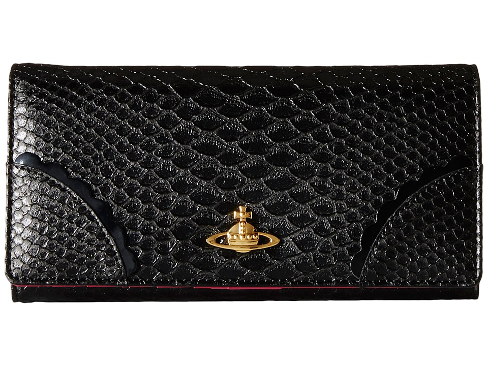 Vivienne Westwood - Frilly Snake Zip Around Wallet w/ Chain (Black) Wallet Handbags