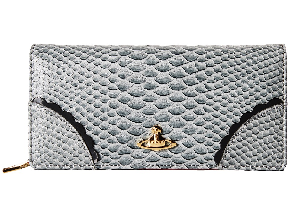Vivienne Westwood - Frilly Snake Zip Around Wallet w/ Chain (Grey) Wallet Handbags
