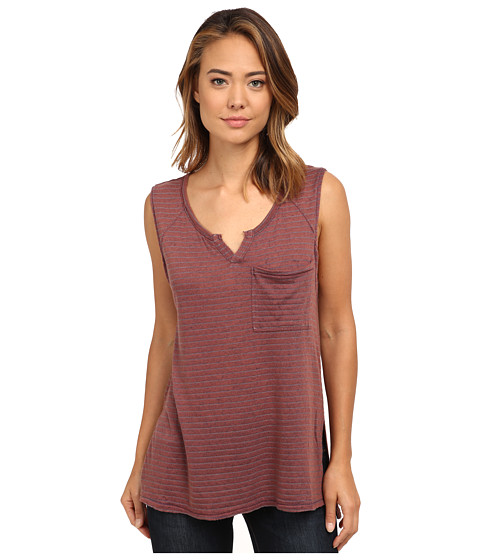 Free People - Linen Stripe Jersey Weekend Warrior Henley (Brick Combo) Women