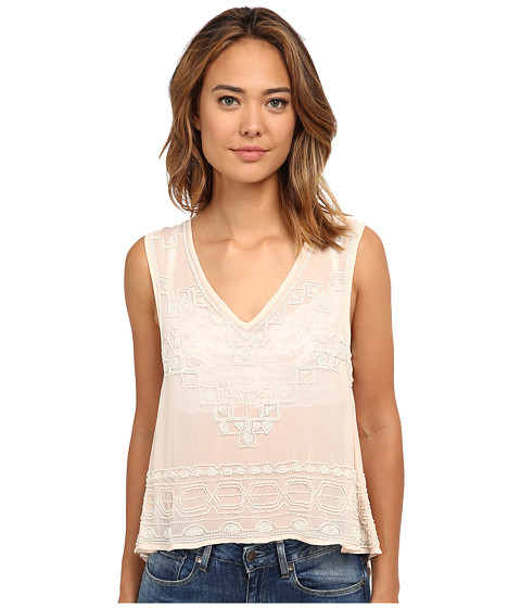 Free People - Pennies Georgette Run with It Embellished Top (Champagne) Women