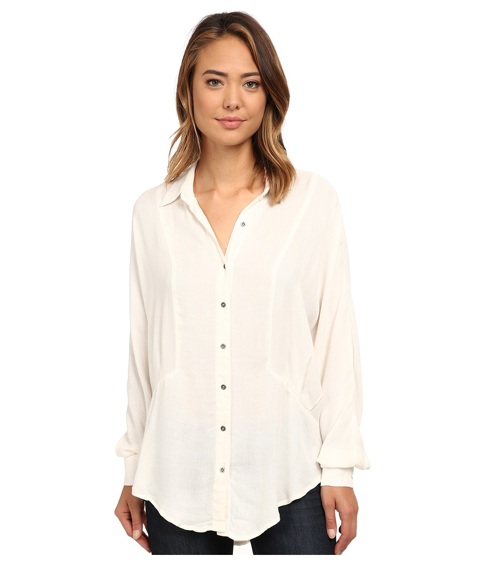 Free People - Rayon Herringbone Affection Button Down (Ivory) Women's Clothing