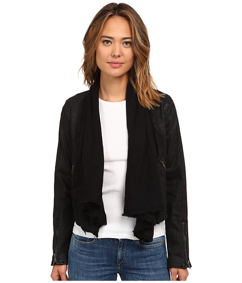 Free People - Drape Front Coated Jacket (Black Combo) Women's Coat