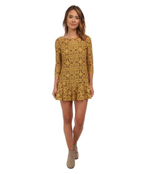 Free People - Cross Dye Lace Walking To The Sun (Dandelion) Women's Dress