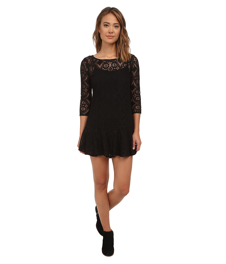 Free People - Cross Dye Lace Walking To The Sun (Black) Women's Dress