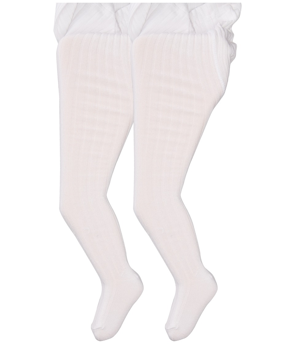 Jefferies Socks - Cotton Rib Tights 2-Pack (Infant/Toddler/Little Kid/Big Kid) (White/White) Hose
