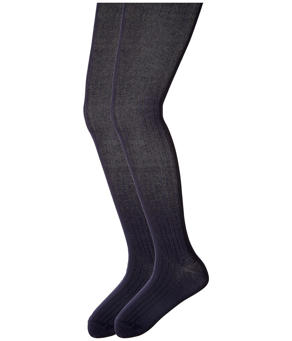 Jefferies Socks - Cotton Rib Tights 2-Pack (Big Kid) (Navy/Navy) Hose