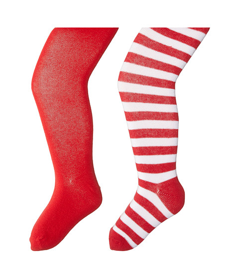 Jefferies Socks - Seamless Organic Cotton Solid Tights + Red/White Stripe Tights Pack (Toddler/Little Kid/Big Kid) (Red/Holiday) Hose