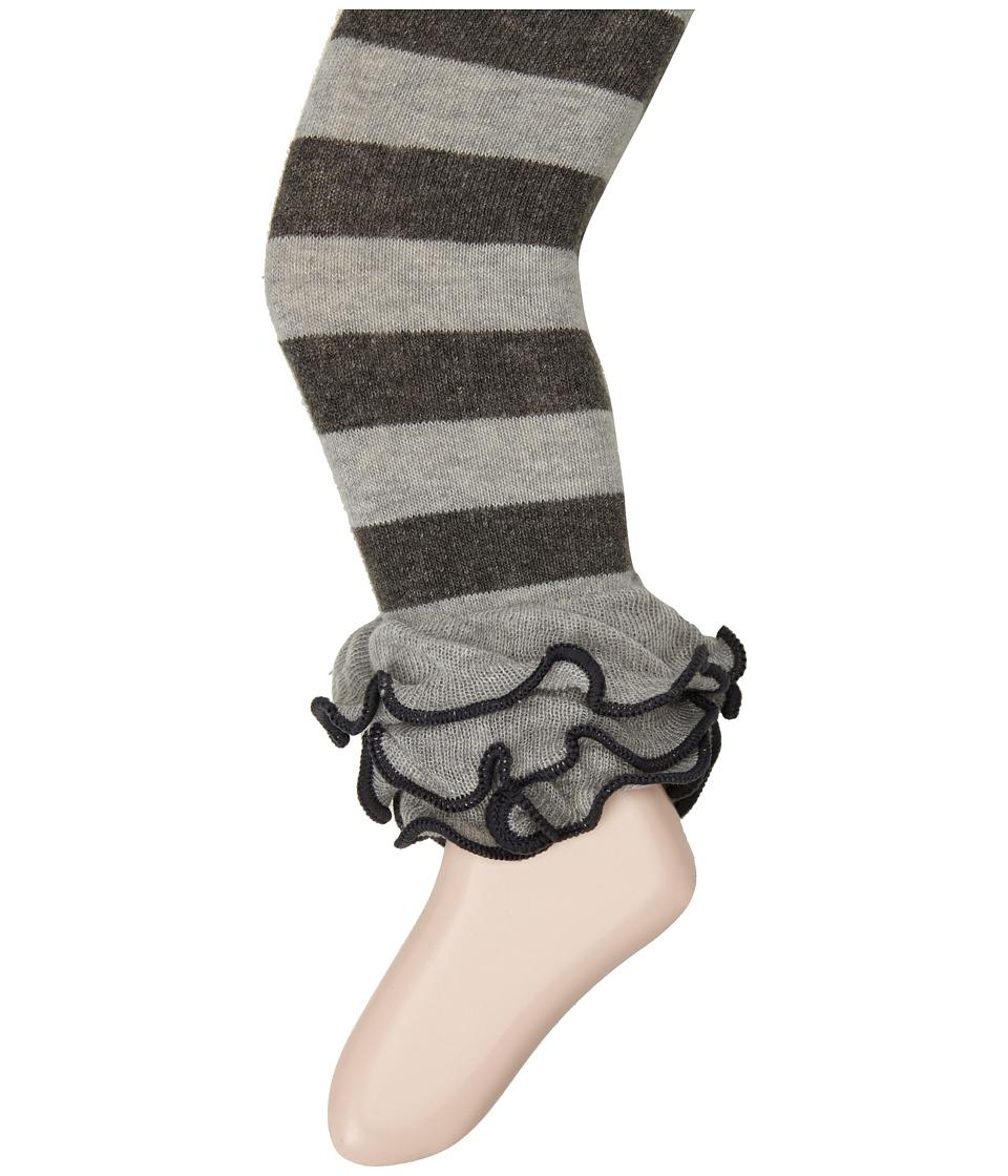 Jefferies Socks - Dot Stripe Multi Ruffle Footless Tights (Toddler/Little Kid/Big Kid) (Grey Stripe) Hose