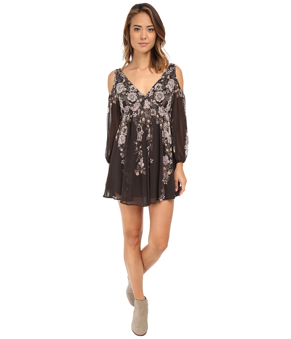 Free People - So Nice Chiffon Penny Lover Mini Dress (Raven Combo) Women's Dress