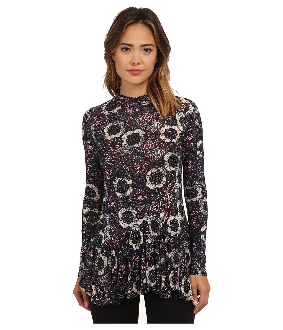 Free People - Rayon Linen Jersey Annabelle Printed Tunic (Plum Combo) Women's Clothing