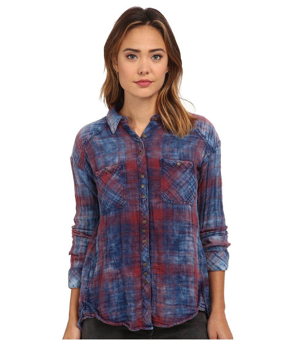Free People - Plaid Double Cloth Double Dip Button Down (Navy Combo) Women's Clothing