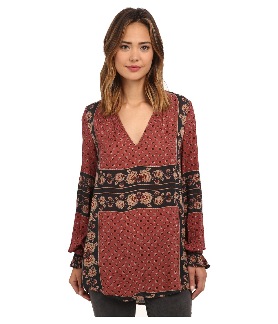 Free People - Rayon Dobby Changing Times Printed Tunic (Brick Combo) Women's Blouse