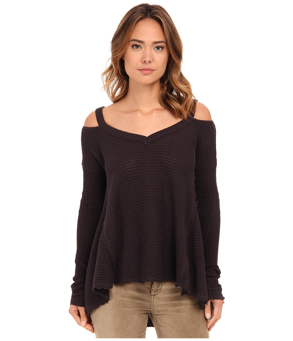 Free People - Moonshine V-Neck (Charcoal) Women's Sweater