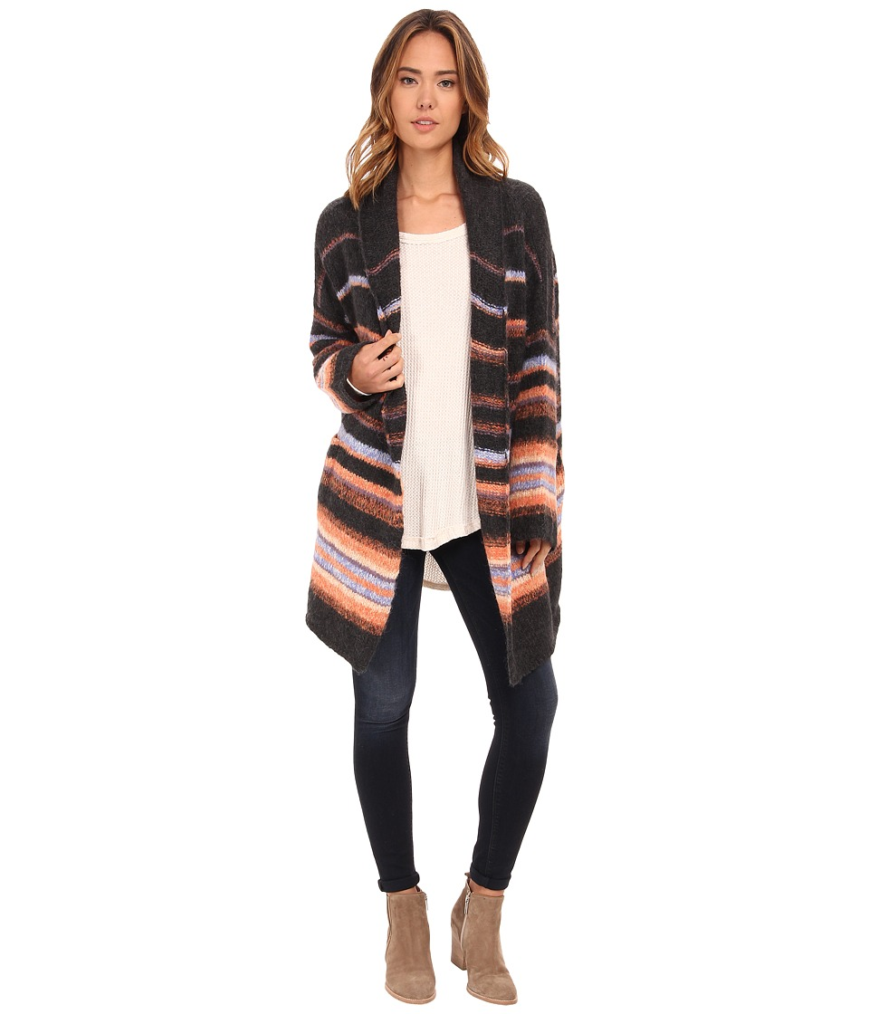 Free People - Alpaca Stripe Coat (Charcoal Combo) Women