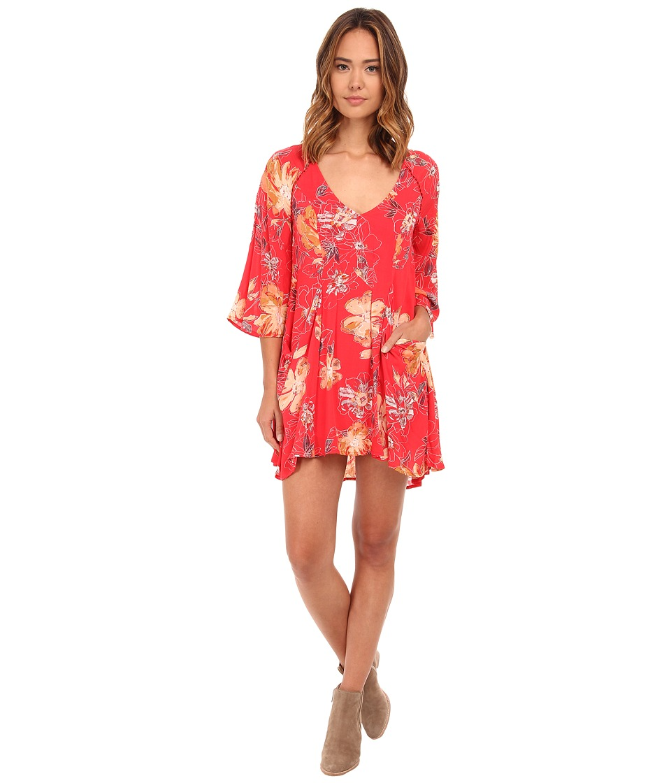 Free People - 60's Rayon Voile Eyes On You Printed Mini Dress (Poppy Combo) Women's Dress