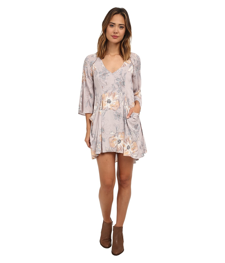 Free People - 60's Rayon Voile Eyes On You Printed Mini Dress (Stone Combo) Women's Dress