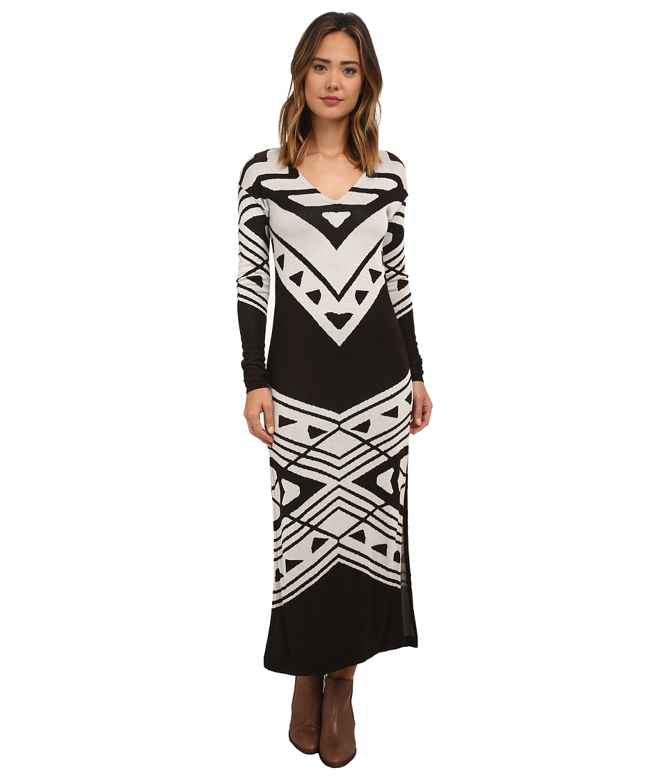 Free People - Cotton Rayon Yarn Patterned Bauhaus Swit Dress (Black/Cream Combo) Women's Dress