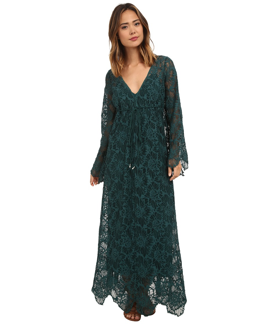 Free People - Cool Sensual Lace Dress (Emerald) Women's Dress