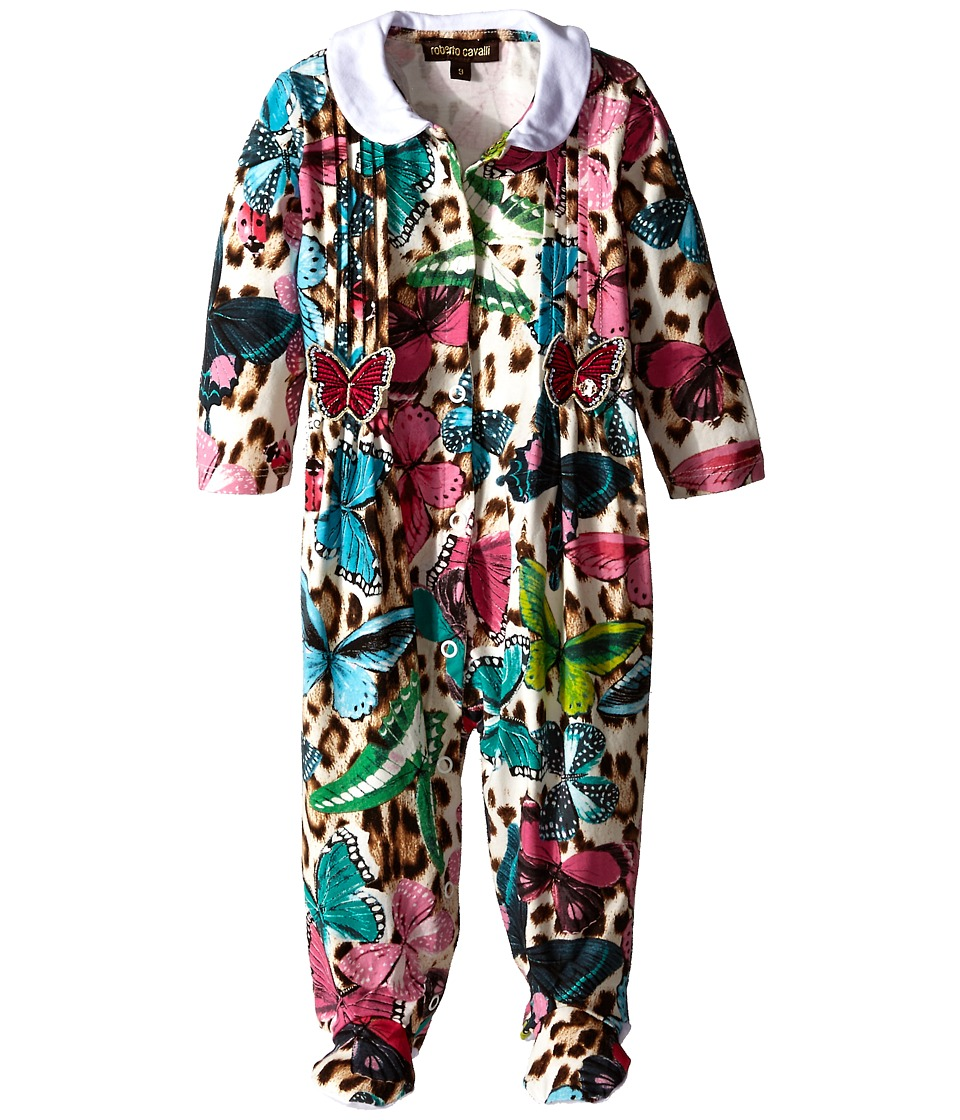Roberto Cavalli Kids - Butterfly Printed Footie (Infant) (Multi) Girl's Jumpsuit & Rompers One Piece
