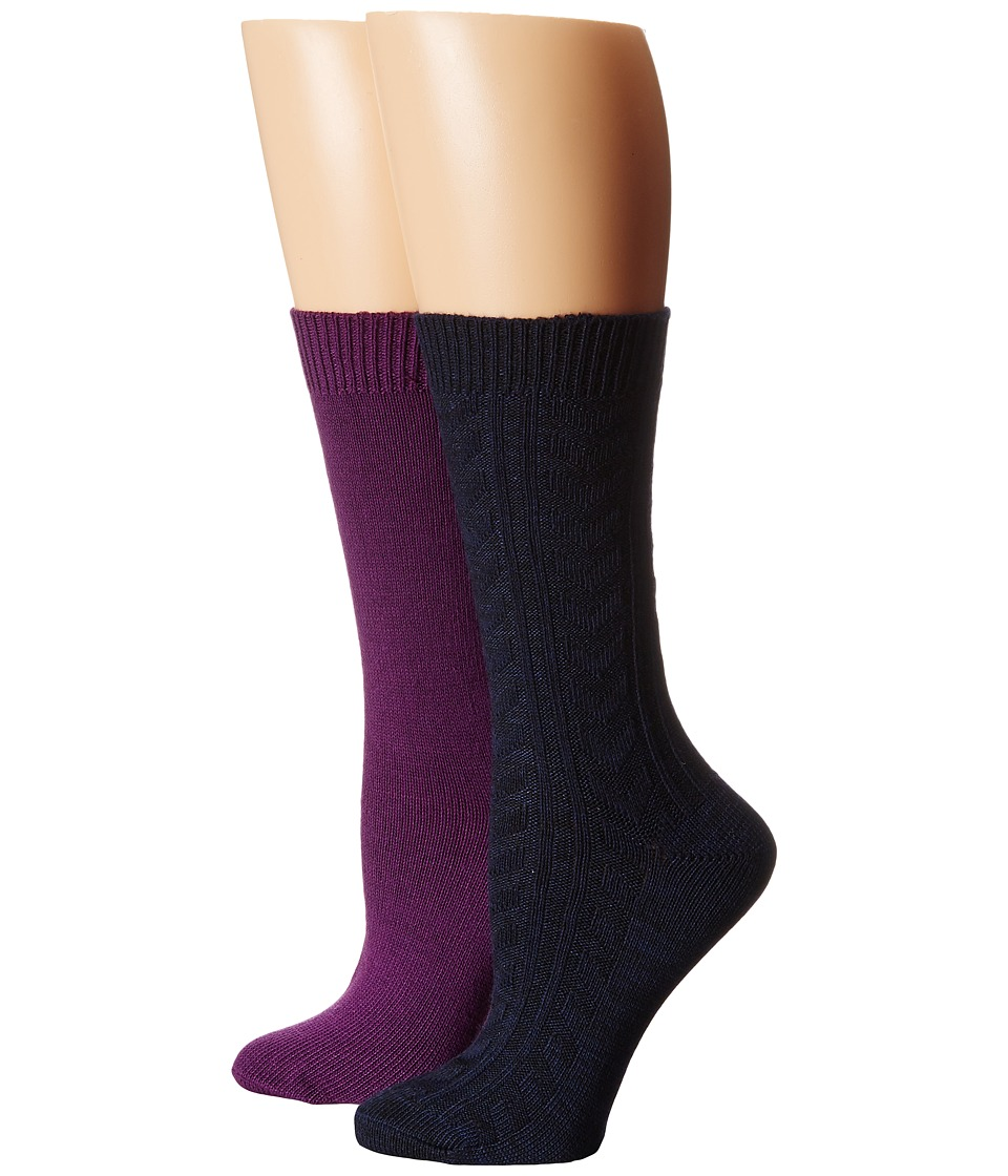 Steve Madden - 4-Pack Boot Socks (Navy/Purple) Women's Knee High Socks Shoes