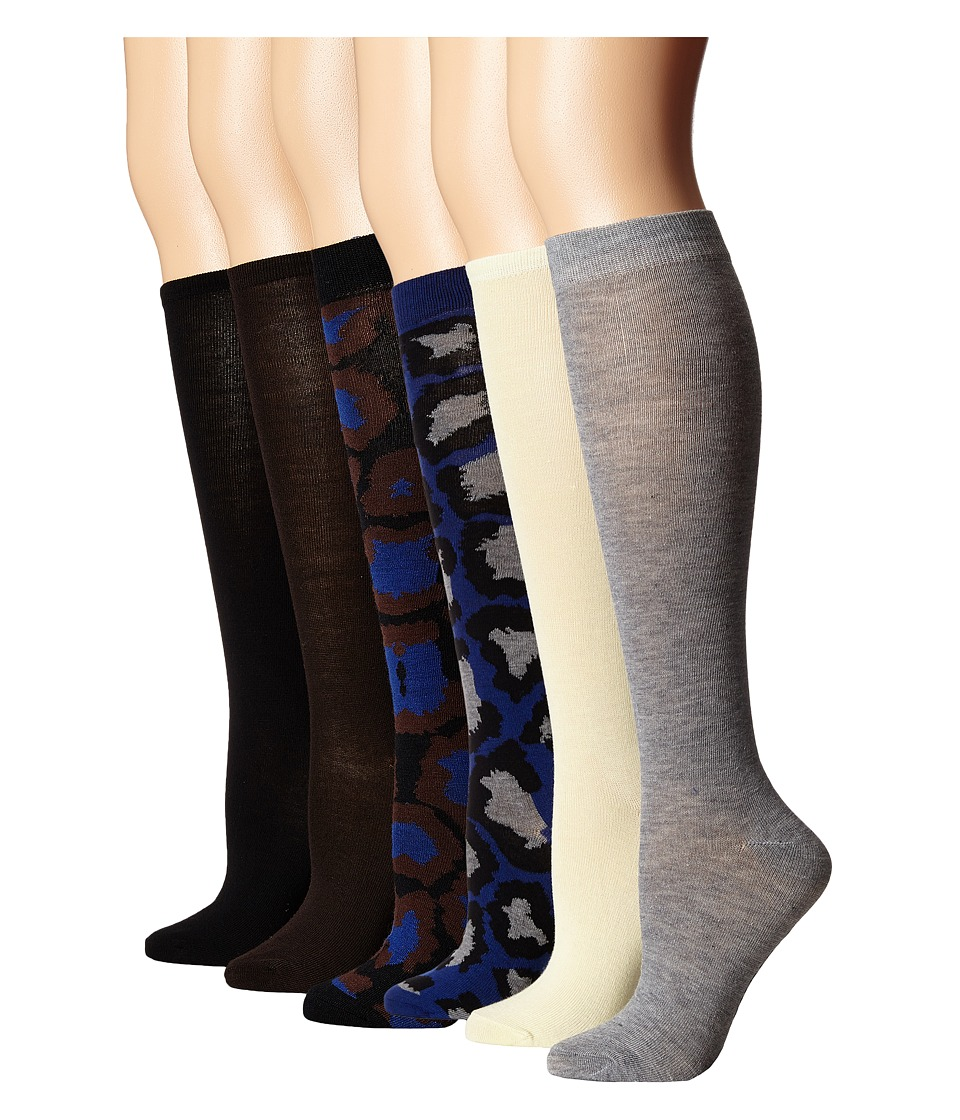 Steve Madden - 6-Pack Print and Solid Knee High (Black/Grey/Chocolate) Women