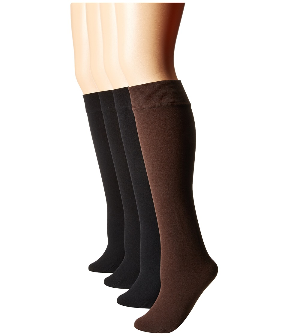 Steve Madden - 4-Pack Fleece Lined Solid Knee High (Chocolate/Black) Women's Knee High Socks Shoes