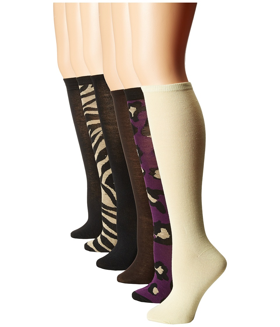Steve Madden - 6-Pack Print and Solid Knee High (Purple/Black/Chocolate/Khaki) Women
