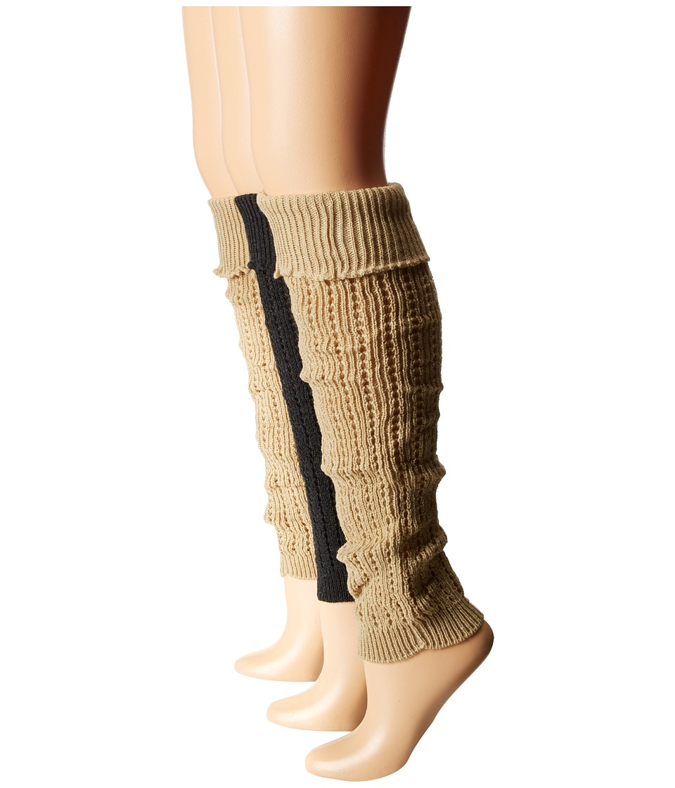 Steve Madden - 3-Pack Leg Warmer (Khaki/Charcoal/Black) Women's Knee High Socks Shoes