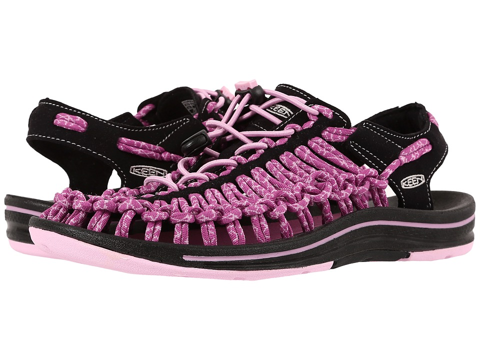 Keen - Uneek (Black/Lilac Chiffon) Women's Toe Open Shoes