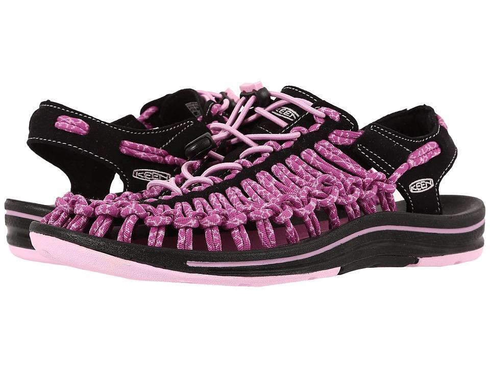 Keen - Uneek (Black/Lilac Chiffon) Women's Toe Open Shoes