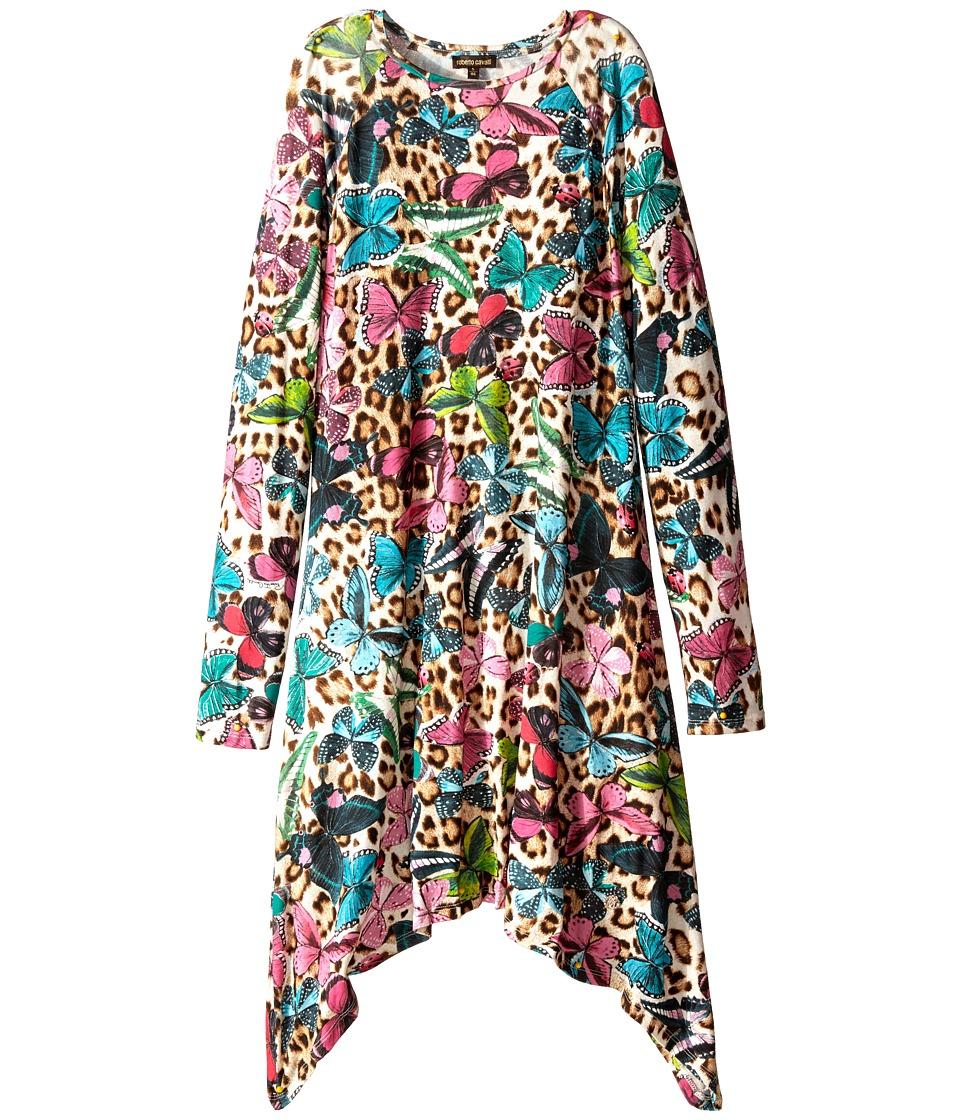 Roberto Cavalli Kids - Jersey Dress Butterfly Print (Big Kids) (Multi) Girl's Dress