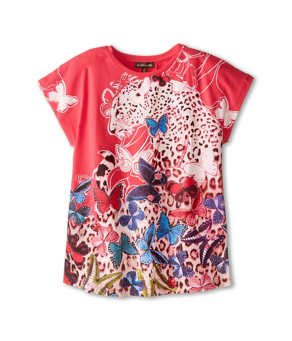 Roberto Cavalli Kids - Short Sleeve Butterfly Tee (Big Kids) (Multi) Girl's T Shirt